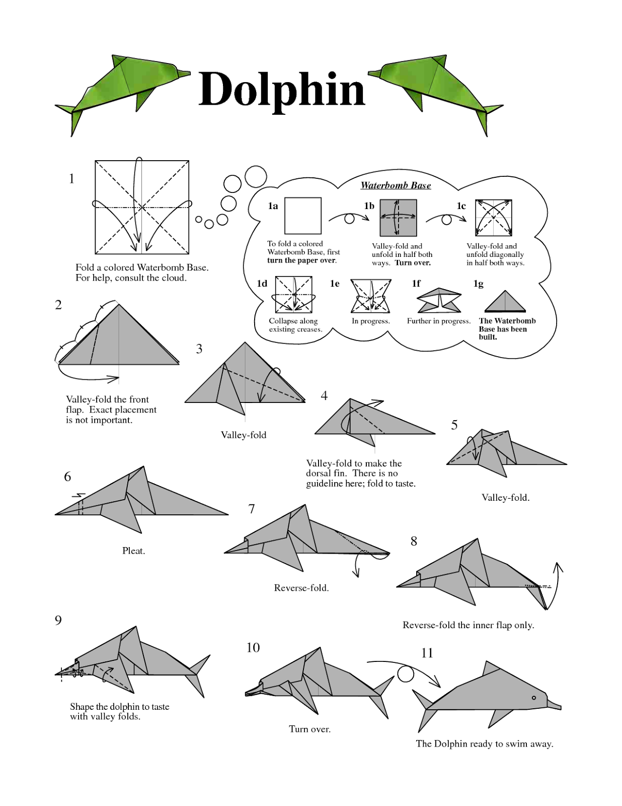 Origami Dolphin Instructions Easy Arts And Crafts Ideas