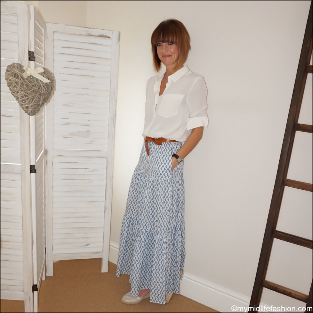 my midlife fashion, marks and Spencer pure silk long sleeve shirt, Isabel Marant lecce leather belt, Zara long printed skirt, Carl Scarpa Brittany beige metallic sandals