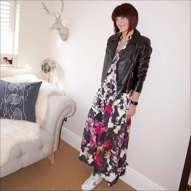 My Midlife fashion, baukjen everyday leather biker jacket, and other stories floral maxi dress, golden goose superstar low top leather star trainers
