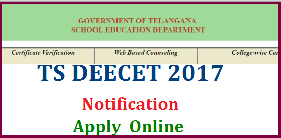 TS DEECET 2017 Notification Online Application Hall Tickets Initial Key Results Download @tsdeecet.cgg.gov.in | Changed norms for DIET CET 2017 | Telangana DEECET Schedule Download from DEECET Official Website http://www.tsdeecet.cgg.gov.in | Telangana State Diploma in Elementary Education Common Entrance Test 2017 Important Dates for Apply Online Download Application Form and Hall Tickets, Initial Key Final Key Anouncement of Results to get Admission into Govt IASE and Pvt DIET Colleges all over Telangana | Good news for DIET CET Aspirants DEECET 2017 Notification may release within a week in Telangana because DEECET 2016 not issued | Board Govt Examinations Popular as SSC Board Board of Secondary Education Official Website http://bsetelangana.org ts-deecet-2017-notification-online-application-form-hall-tickets-initial-key-results-tsdeecet.cgg.gov.in-download