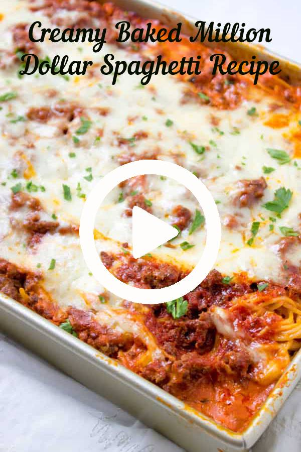 Creamy Baked Million Dollar Spaghetti is creamy with a melty cheese center, topped with meat sauce and extra bubbly cheese. Tastes like a cross between baked ziti and lasagna with half the effort! #Spaghetti #baked #lasagna #dinner #comfortfood