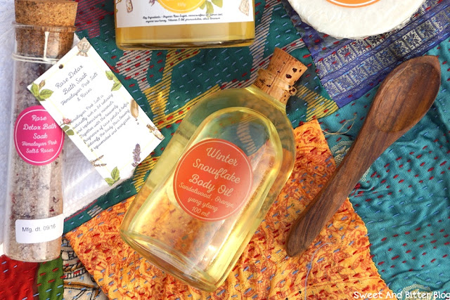 Sandalwood Body Oil in glass bottle from The Herb Boutique