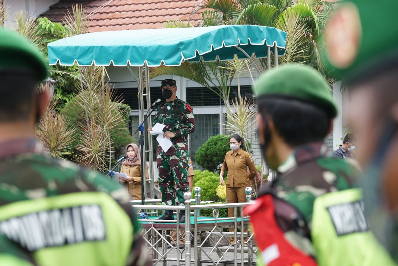 Dandim 0204 Deliserdang Pimpin Apel Pasukan Dalam Menegakkan Disiplin Covid-19 Menyambut Nataru 2021