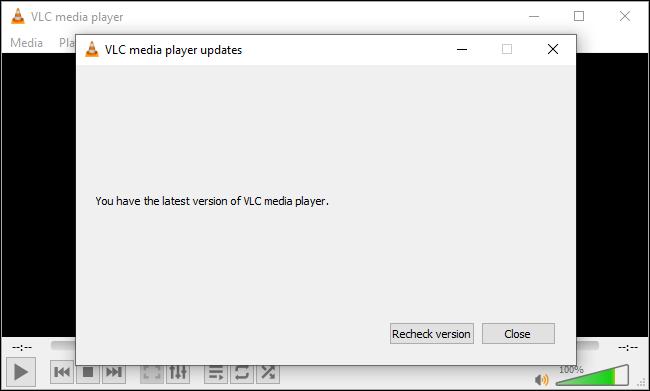 VLC يقول لديك أحدث إصدار