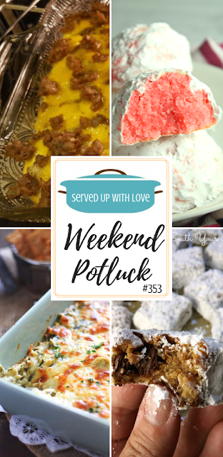 Weekend Potluck featured recipes include Sausage Egg and Cheese Breakfast Casserole, Peppermint Snowball Cookies, Slow Cooker Spinach and Artichoke Dip, Man Bars, and so much more.  #potluck #easyrecipe
