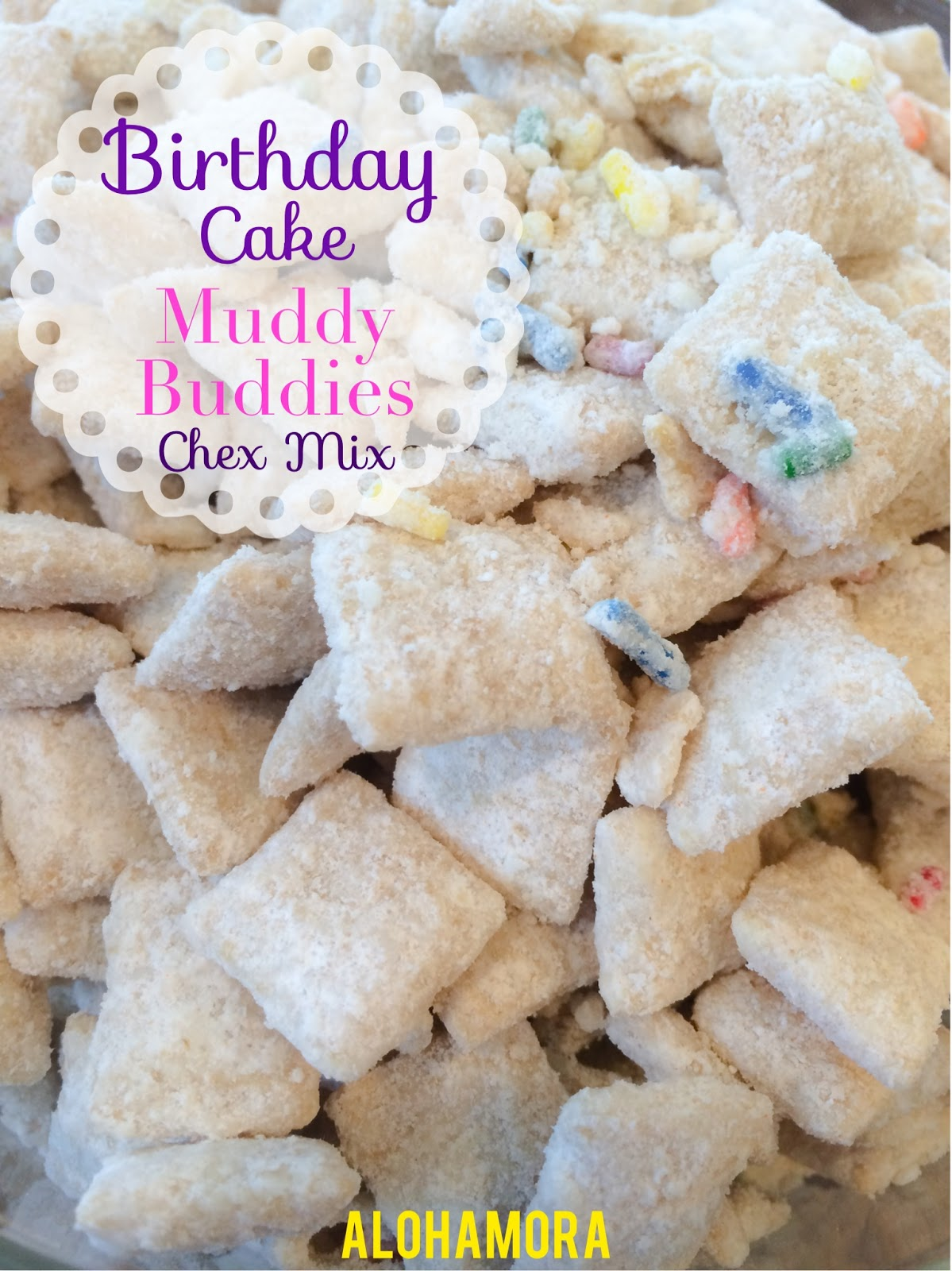 Birthday Cake Muddy Buddies, Puppy Chow, Chex Mix that is quick and easy to make, and a perfect nut free, egg free treat everyone can enjoy.  It could easily be gluten free.  Alohamora Open a Book http://www.alohamoraopenabook.blogspot.com/
