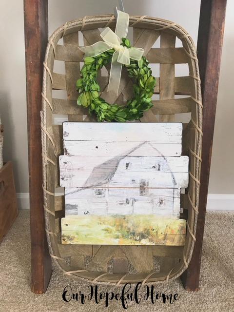 tobacco basket pallet wood barn painting boxwood wreath vintage ladder