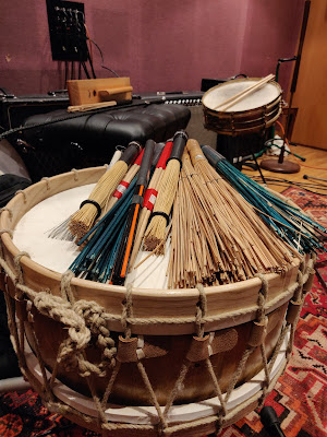 Dream Horse: Tabwrdd drum made by Marcus of Newport plus other percussion