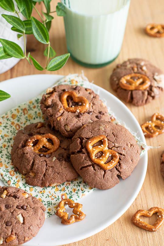 recette Cookies chocolat et bretzels
