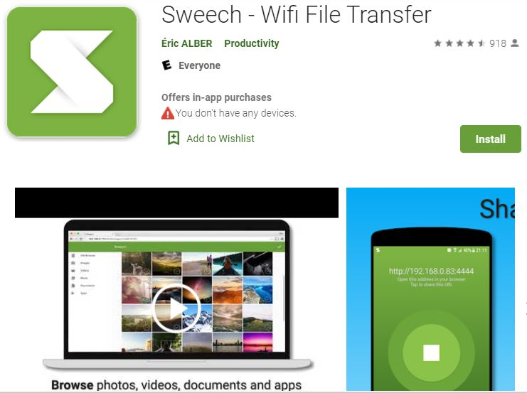 Sweech file transfer app