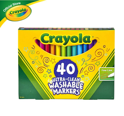Crayola Ultra Clean Washable Fine Line Markers, 40 Colors