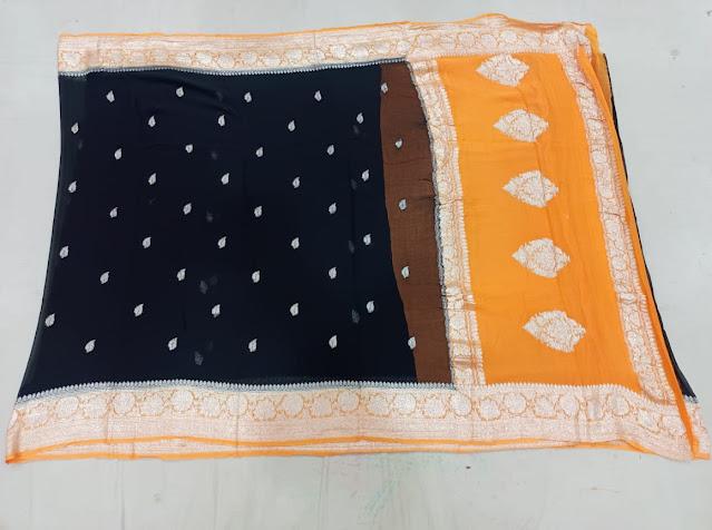 Banarsi khaddi chiffon Kadwa black colour saree