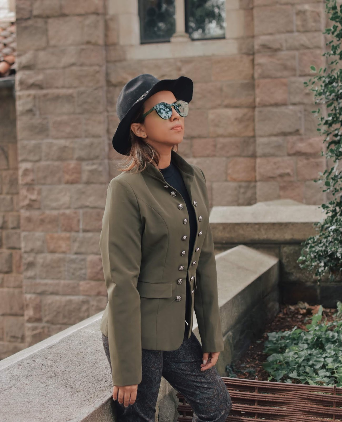 Army Green Stand Collar Open-Front Blazer -mariestilo-lookbookstore-army trend-dcblogger-