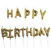 Lilin Huruf HAPPY BIRTHDAY Gold