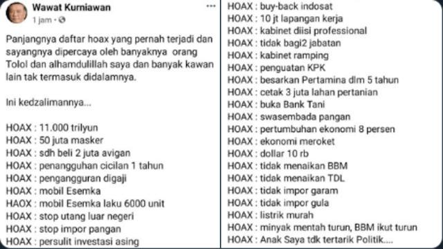 Panjangnya Daftar HOAX, Dari Hoax 11.000 Triliun Hingga Hoax Anak Saya Tidak Tertarik Politik