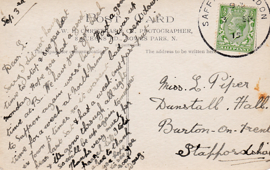 Scan of a handwritten postcard Posted 3rd September 1915, published by W.H. Christmas & Co, Photographer, 8 Queens Rd, Bowes Park - image from Peter Miller's collection