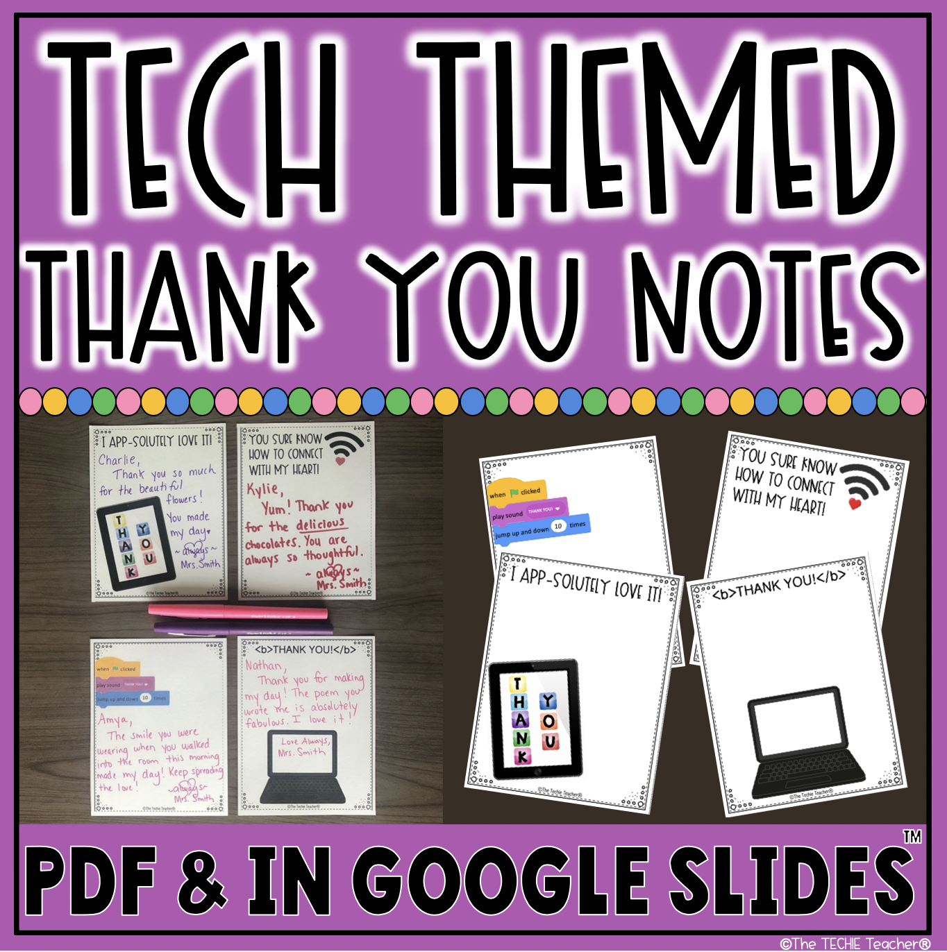Tech themed thank you notes for those who LOVE technology! Techie nerds UNITE