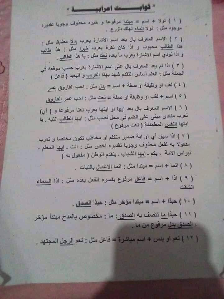 قواعد و ثوابت اعرابية هامة للثانوية العامة أ/ عزت السعيد 1