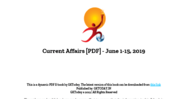 GK Today Current Affairs June 2019 : For All Competitive