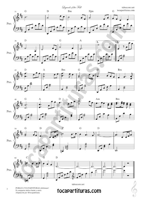 Hoja 2 Leyendas de Pasión Partitura de Piano Versión tocapartituras.com Legend of the Fall Easy Sheet Music for Pianists
