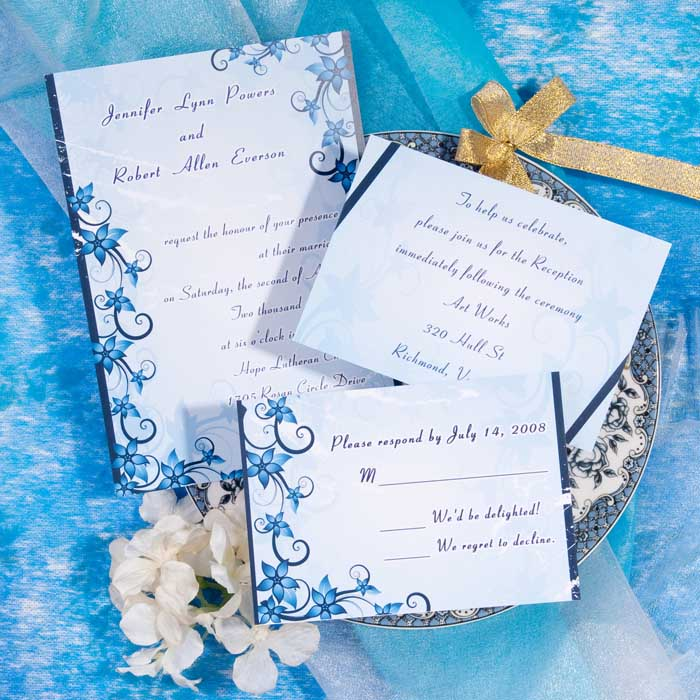 Wedding By Designs Blue Wedding Invitations Fresh And Glamour
