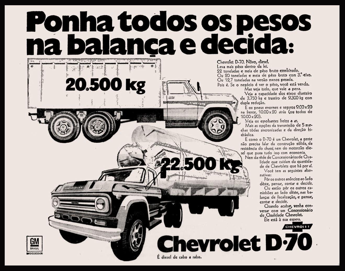 Propaganda antiga do Caminhão D-70 da Chevrolet apresentado no começo dos anos 70
