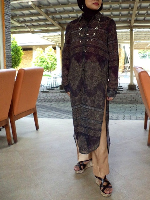 Vintage Print Longline Shirt with Side Split - formal events