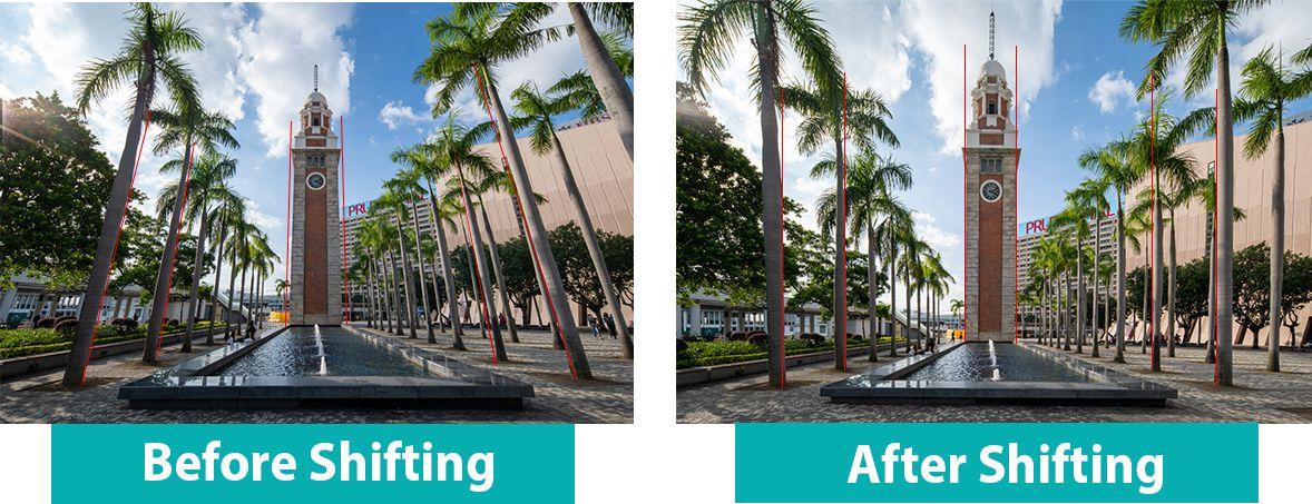Сравнение обычного варианта съемки и использования сдвига в шифт-объективе