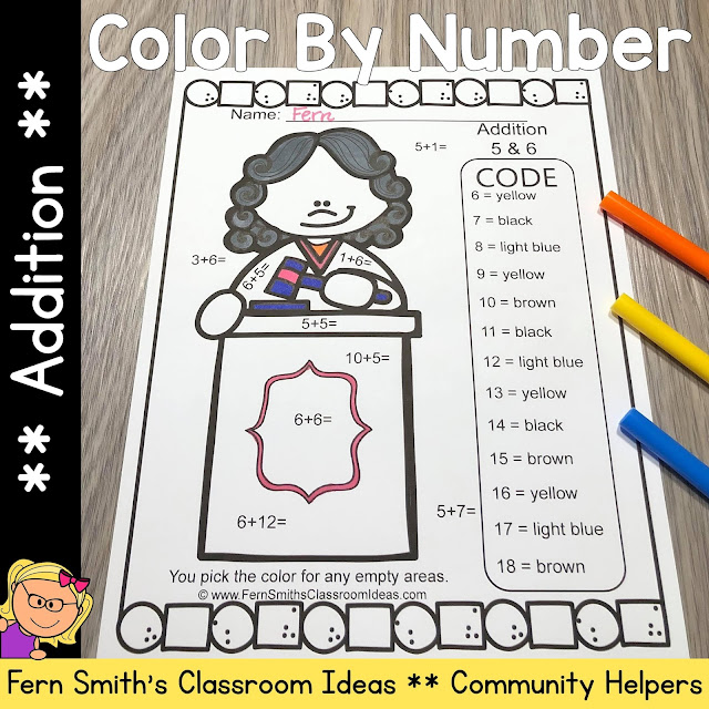 Click Here to Download This Community Helpers Career Themed Color By Number Addition Resource For Your Class Today!