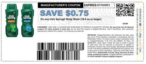 $0.75/1 Irish Spring Bar Soap Packs 6-pack+ (go to irishspring.com sign up to print)