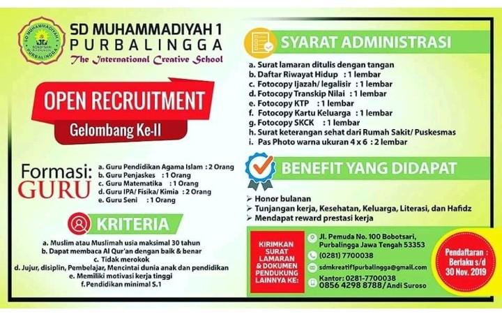 Lowongan Kerja Sd Muhammadiyah 1 Purbalingga Info Loker Purbalingga