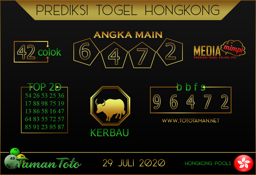 Prediksi Togel HONGKONG TAMAN TOTO 29 JULI 2020