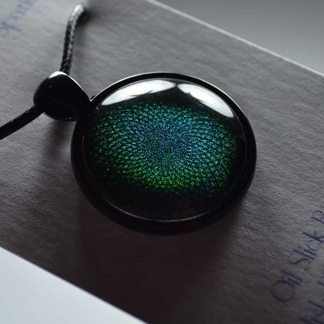 blue shimmer nail polish pendant