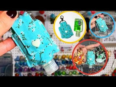 Ideias para fazer capinha chaveiro de álcool gel com passo a passo