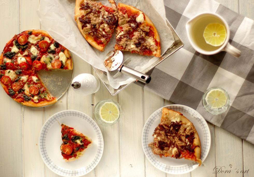Špaldová pizza s tuniakom a červenou cibuľou
