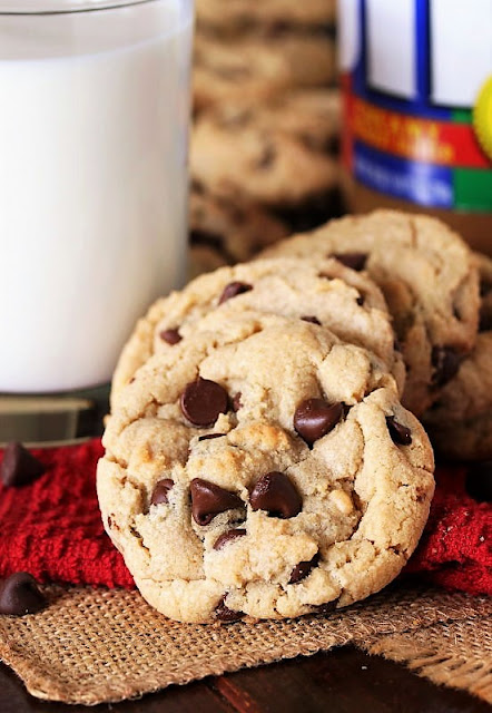 Peanut Butter Chocolate Chip Cookies with Glass of Milk Image