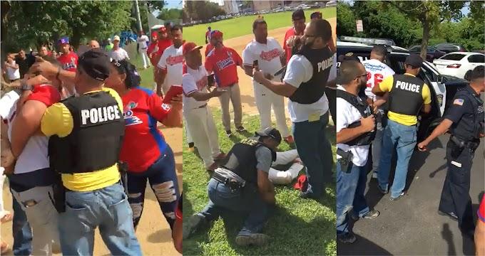 VIDEO: Dominicanos que jugaban softbol en estadio de Nueva Jersey detenidos y multados por policías