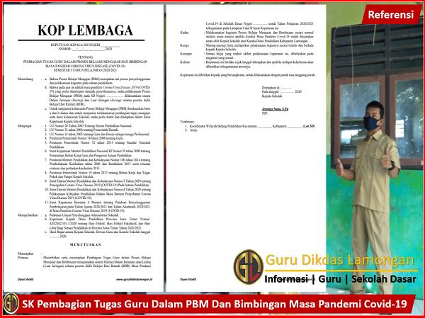 SK Pembagian Tugas Guru Dalam PBM Dan Bimbingan Masa Pandemi Covid-19