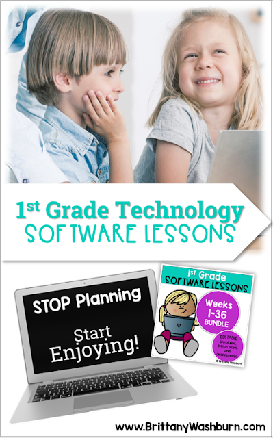 1st grade students can do more on devices than we expect. With lessons and activities that follow a consistent setup and process, first graders can do just about anything in the software programs.   These Spiral Review technology lessons that teach presentation, word processing, and spreadsheet software for 1st grade over 12 sessions. These will make a great addition to your technology curriculum for the computer lab.