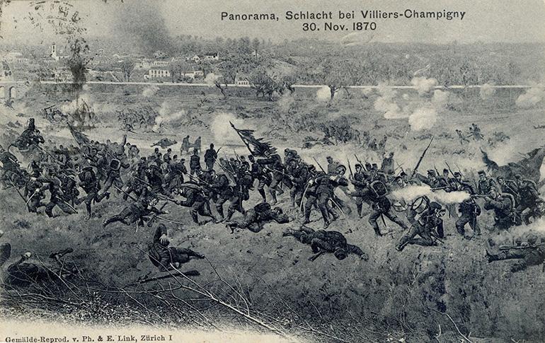 Carte postale allemande réalisée à partir d'un panorama de la bataille de Champigny