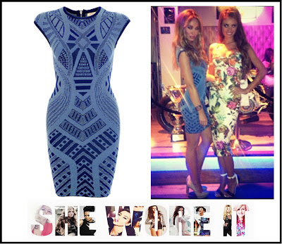 Dress, Exposed Zip, Geometric, Jacquard Pattern, Lauren Pope, Marbella, Mosaic, Pale Blue, Spottedonaceleb.com, Torn by Ronny Kobo, TOWIE, Victoria,