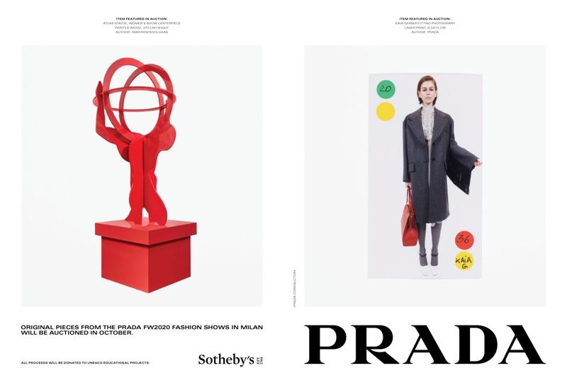 Kaia Gerber fronts Prada fall-winter 2020 campaign.