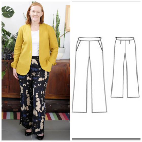 a white lady posing in a chartreuse coloured jacket and printed black linen pants