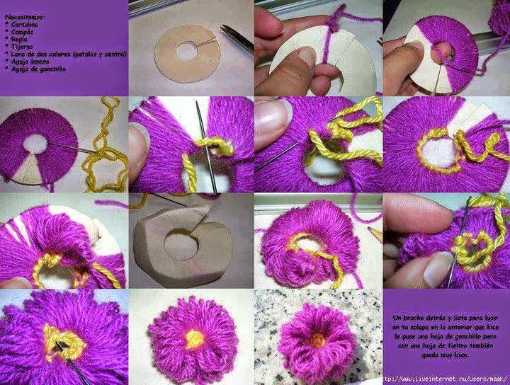 Flor pompón paso a paso