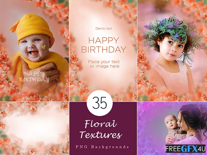 35 Floral Texture Background Overlays