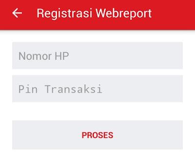 halaman transaksi registrasi ke webreport