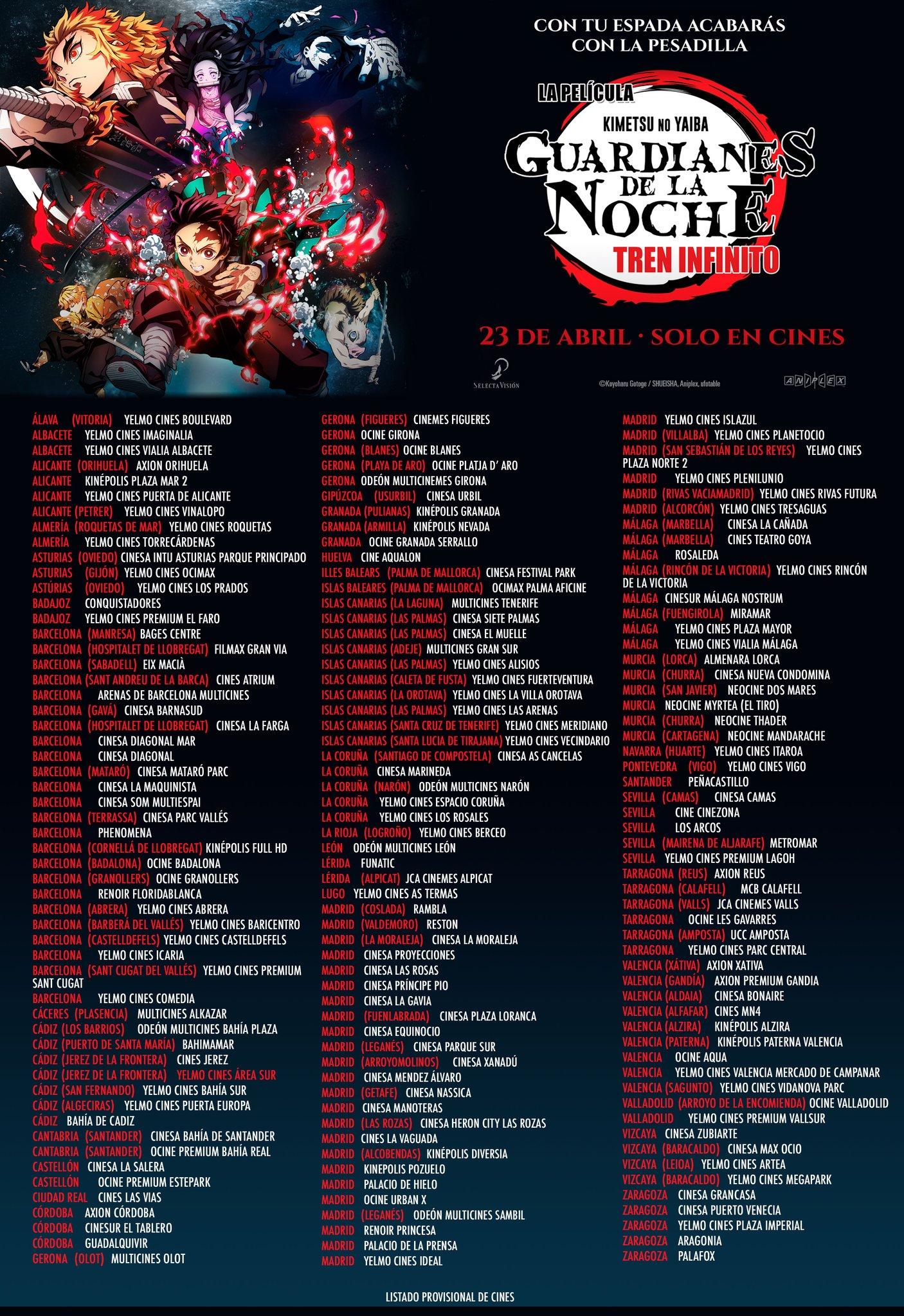 Listado de cines para Kimetsu no Yaiba: Infinite Train Arc - Estreno en VOSE, castellano y catalán.