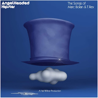 Blue top hat hovering over a white cloud on a blue background.