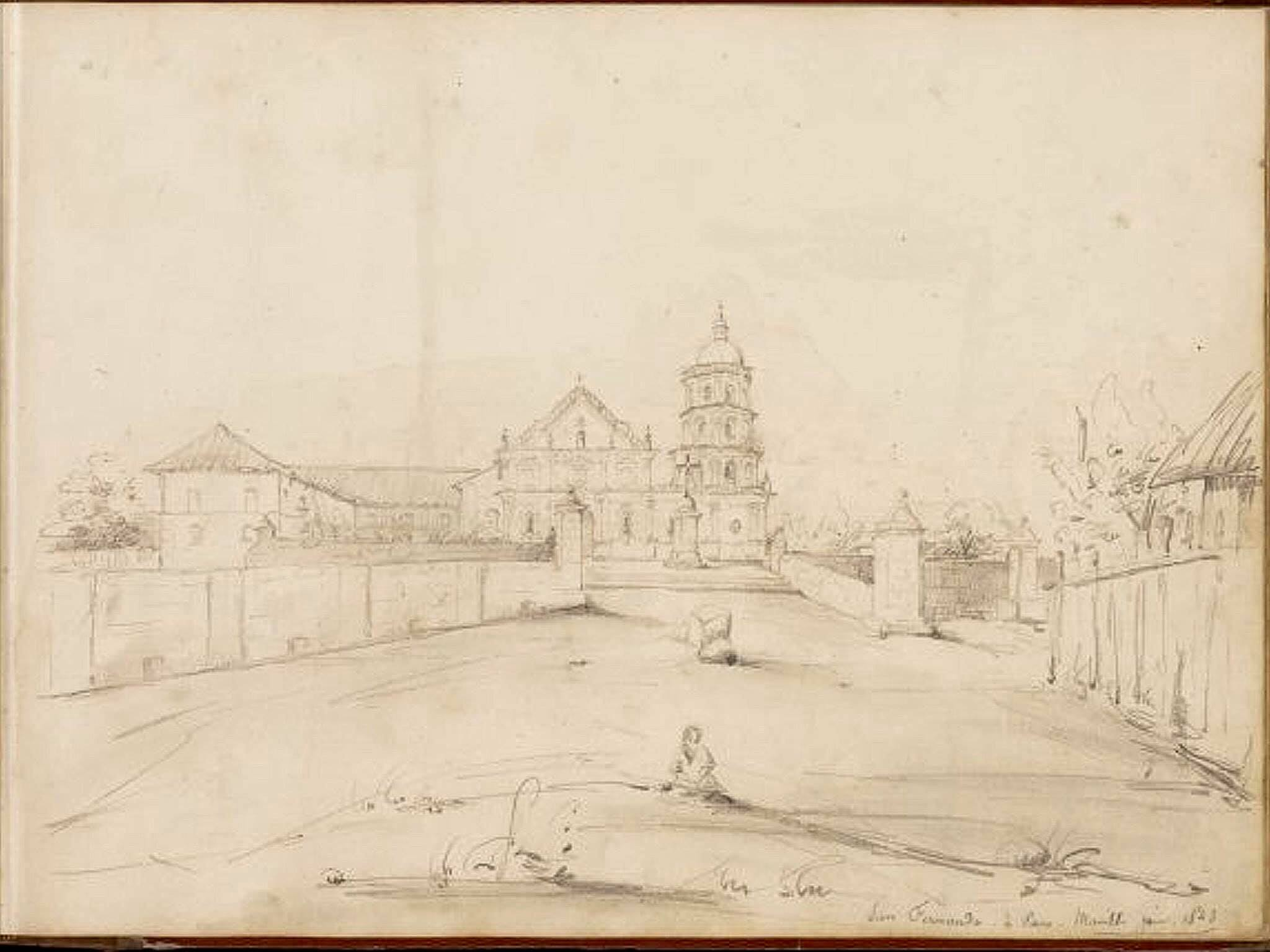 The oldest known sketch of the church of San Fernando built in 1809 Photo credits to Mr. Nicholas Torrontegui