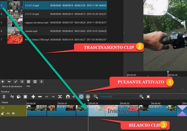 inserimento della clip nella Timeline di Shotcut